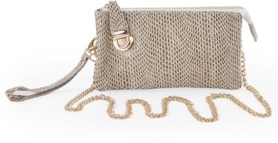 FT Women Formal Beige Genuine Leather Sling Bag