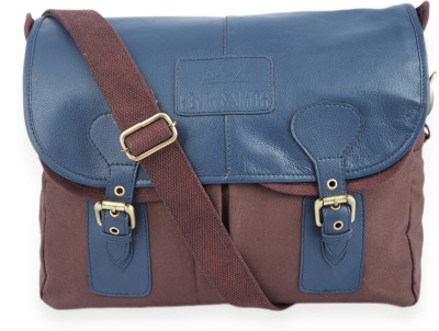 Henry and Smith Men Multicolor Genuine Leather Messenger Bag