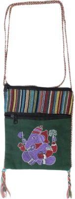 HR Handicrafts Girls Green Canvas Sling Bag