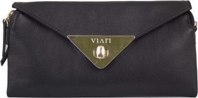 Viari Women Evening/Party Black Genuine Leather Sling Bag