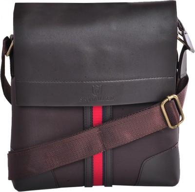 LeCobbs Men Brown Leatherette Sling Bag