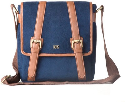 Atorse Men Blue PU Sling Bag