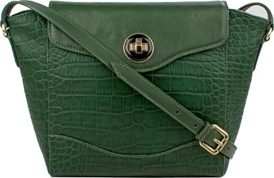 Hidesign Women Green Genuine Leather Sling Bag