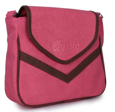 Star Style Women Casual Pink Leatherette Sling Bag