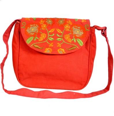 Diwaah Women Red Cotton Sling Bag