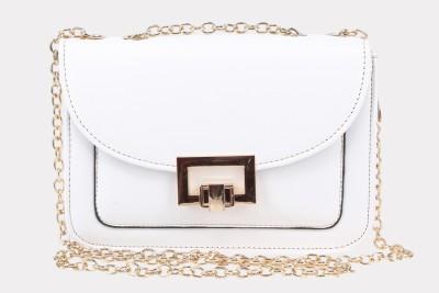 Daks Women White PU Sling Bag