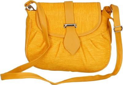 Leather Land Women, Girls Yellow PU Sling Bag