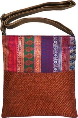 Bhamini Women Orange Jute Sling Bag