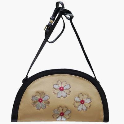 Jeane Sophie Women Evening/Party Beige Genuine Leather Sling Bag