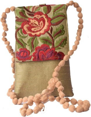 Mahadev Exports Women Gold Silk Sling Bag