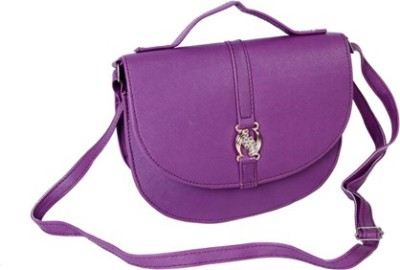 Kuero Women Purple Leatherette Sling Bag