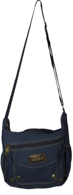 Ludan Men Blue Canvas Sling Bag