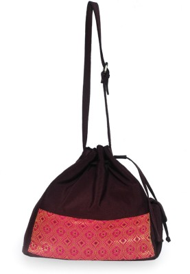 Allmine Girls Casual Brown, Pink Nylon Sling Bag