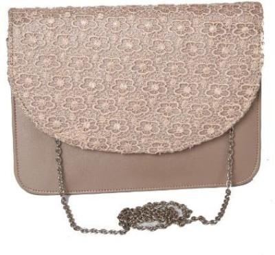Kuero Women Gold, Beige Leatherette, Cotton Sling Bag