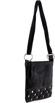 HX London Women Casual Black Genuine Leather Sling Bag
