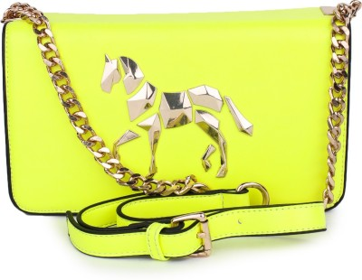 Star Style Women Yellow PU Sling Bag