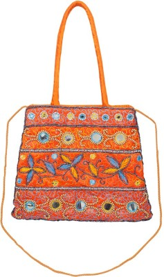 VERMELLO Girls, Women Casual, Evening/Party Orange Silk Sling Bag