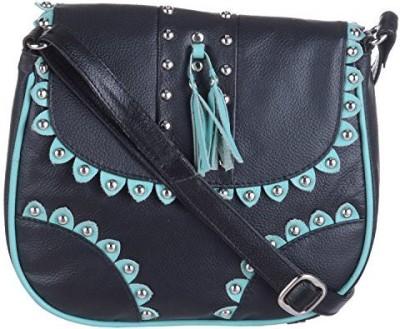 EUPHORIA Girls Black Genuine Leather, Cotton Sling Bag