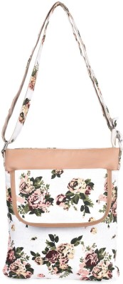 Crafts My Dream Girls Beige Cotton Sling Bag