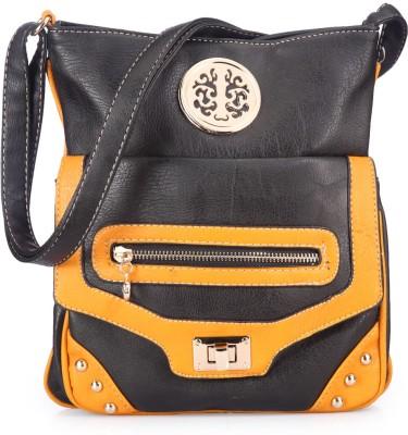 Bags Craze Women Casual Black, Yellow PU Sling Bag