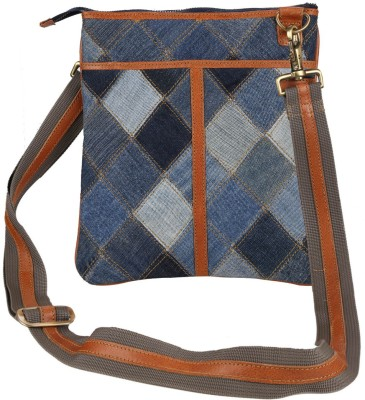 Hibiscus Women Casual Orange, Blue Genuine Leather, Denim Sling Bag