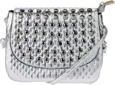 iva Women Silver Leatherette Sling Bag