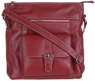 EUPHORIA Women Red Genuine Leather, Nylon Sling Bag