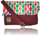 Avni Women Maroon Denim Sling Bag