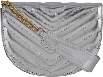 Berrypeckers Women Silver PU Sling Bag