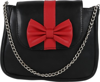 Berrypeckers Women Casual Black, Red PU Sling Bag