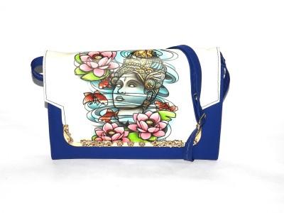 ShopperzGuide Girls, Women Blue Leatherette Sling Bag