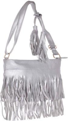 abrazo Girls Casual Silver PU Sling Bag
