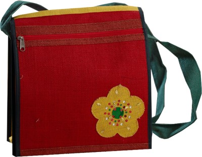Aapno Rajasthan Women Casual Red Jute Sling Bag