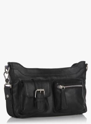 Fume Men, Women Casual Black Genuine Leather Sling Bag