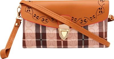 Pink Rose Women, Girls Brown PU Sling Bag