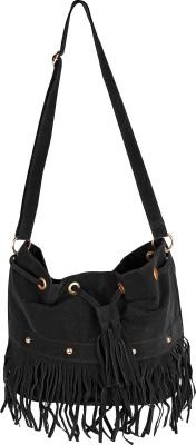 abrazo Girls, Women Black Velvet Sling Bag
