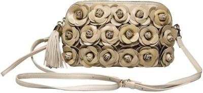 Klasse Girls Casual Beige Genuine Leather Sling Bag