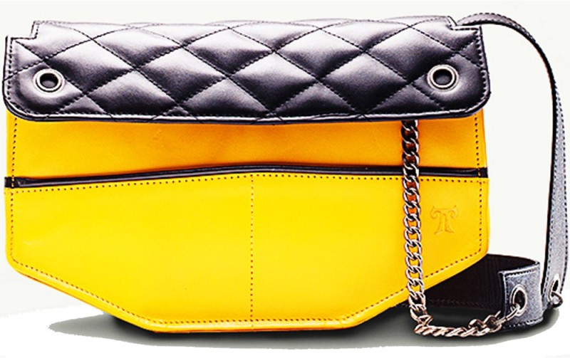 TWACH Women Evening/Party Yellow, Black Genuine Leather Sling Bag Frolic