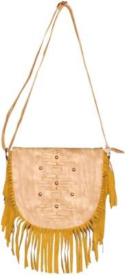 Deox Girls Beige Genuine Leather Sling Bag