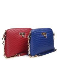 Urban Stitch Women Maroon, Blue Leatherette Sling Bag