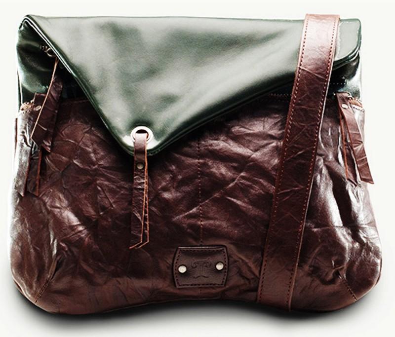 TWACH Women Casual Green, Brown Genuine Leather Sling Bag Wrinkled Globetrotter