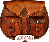 Adimani Girls Brown Genuine Leather Sling Bag