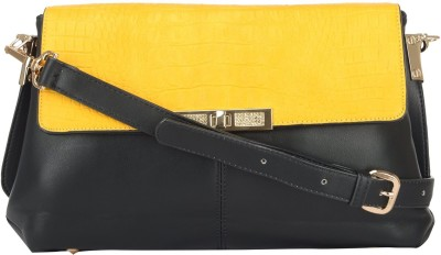 Home Union Women Casual Yellow PU Sling Bag