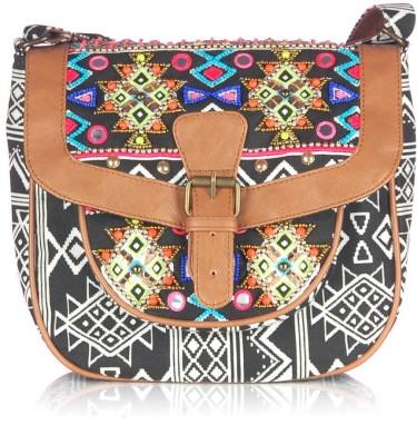 Shaun Design Women, Girls Casual Black Canvas Sling Bag