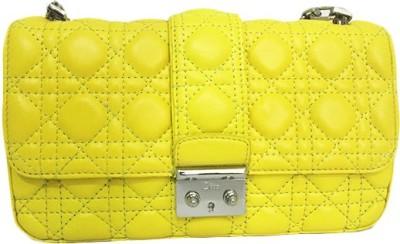 Zaira diamond Women Yellow Genuine Leather Sling Bag