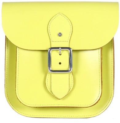 Viari Women Casual Yellow Genuine Leather Satchel