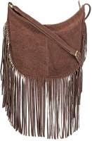 The House of Tara Women Maroon Genuine Leather Sling Bag