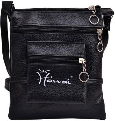 Hawai Men, Women Casual Black PU Sling Bag