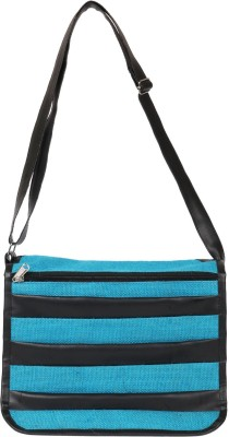 Benicia Women Blue Jute Sling Bag