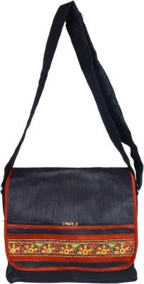 Merci Women Casual Black Linen Sling Bag